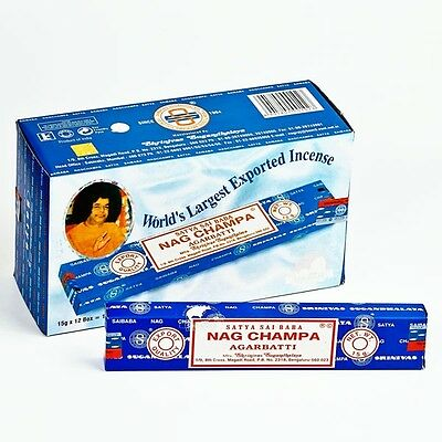 Original Satya Sai Baba Nag Champa Incense Sticks Genuine 12 x 15G Full Boxes