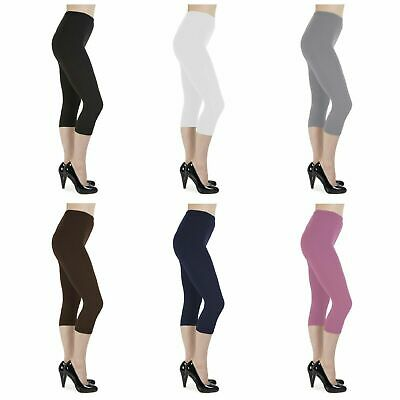Cotton Leggings 3/4 Length Cropped Leggings - All Sizes and Colors UK 6 - 28