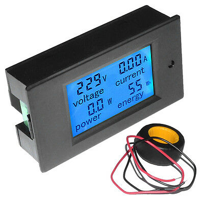 LCD AC 80-260V 0-100A Digital Voltage Volt Current Meter Panel Power Energy AO