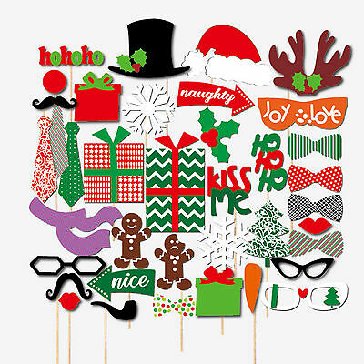 39Pcs Christmas Photo Booth Props Photography Santa Photobooth Party Prop DIY