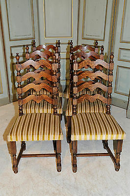 Antique French Country Ladder Back Dining Chairs Set of Six in Oak
