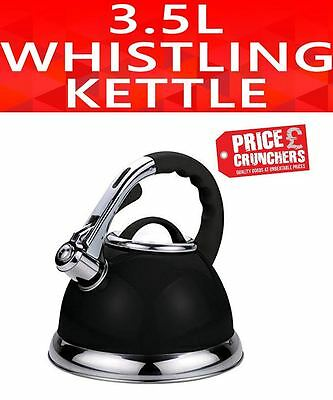 Black Retro Whistling Kettle 3.5l Induction Stainless Steel Gas Stove Vintage