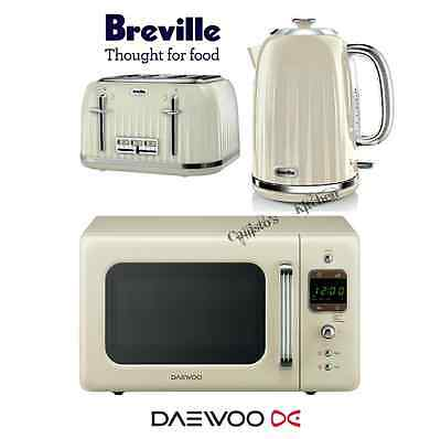 Breville Impressions Cream Kettle and Toaster Set & Daewoo Retro Microwave New