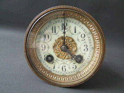 Antique French A D Mougin clock movement dial bezel & glass - repair parts
