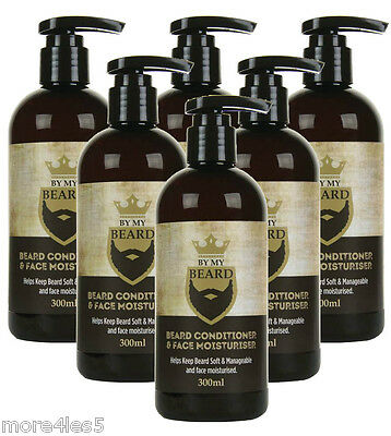 6 x 300ml BY MY BEARD Beard Conditioner & Face Moisturiser For Men's Facial Hair