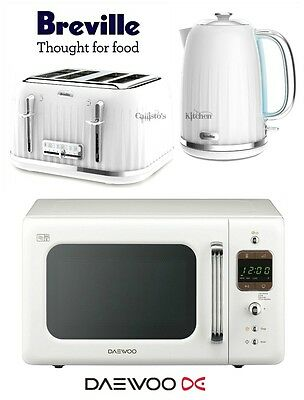 Breville Impressions White Kettle and Toaster Set & Daewoo Retro Microwave New