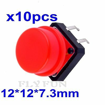 10pcs B3F Key Tactile Switch Tact Push Button with Round Cap 12 x12 x 7.3mm Red
