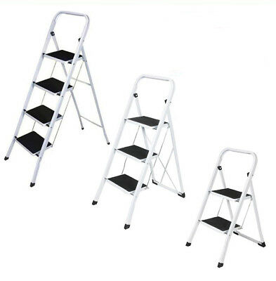 2 3 4 Step Ladder Folding Safety Tread Non Slip Stepladder Foldable Kitchen Home