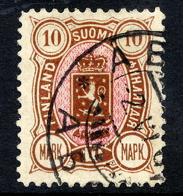 FINLAND 1894 10 Mk. yellow-brown and rose used