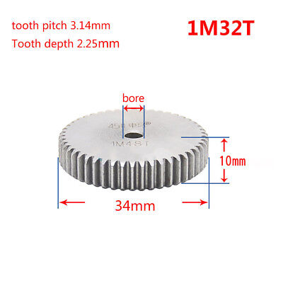 1 Mod 32T Spur Gear 45# Steel Pinion Gear Thickness 10mm Outer Dia 34mm x 1Pcs
