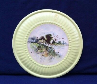 Vintage Chimney Flue Cover Yellow Painted Rim Landscape Center Collectible Good