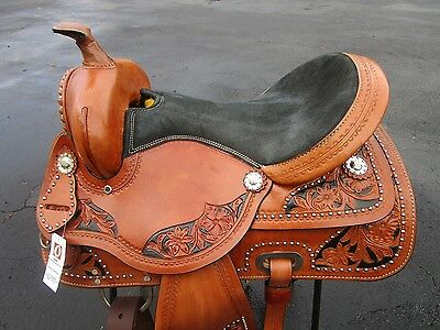 Used 15 16 Silver Show Barrel Racing Trail Leather Pleasure Western Horse Saddle
