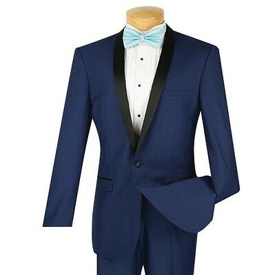 Men's Blue Slim-Fit One Button Formal Tuxedo Suit NEW Prom Wedding