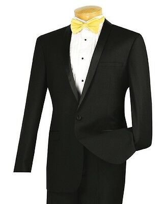 Men's Black Slim-Fit One Button Formal Tuxedo Suit NEW Prom Wedding Groom