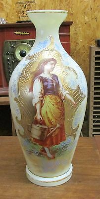 Antique Bristol Vase Handpainted  Portrait Woman Girl Watering Can