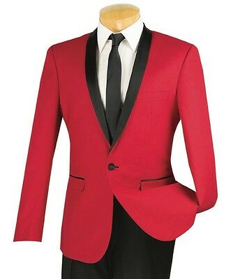 Men's Red Slim-Fit One Button Formal Tuxedo Suit NEW Prom Wedding Groom