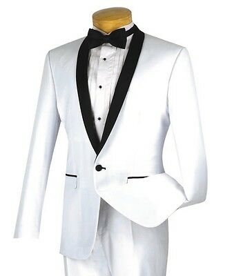 Men's White Slim-Fit One Button Formal Tuxedo Suit NEW Prom Wedding Groom