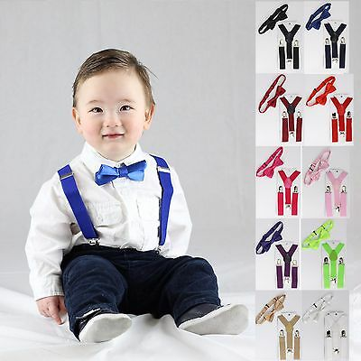 Baby Bow Tie Suspenders Set Adjustable Boy Bowtie Party Wedding Birthday JB01