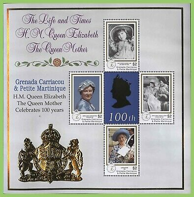 Grenada Carriacou 2000 Queen Mother 100th Birthday miniature sheet MNH
