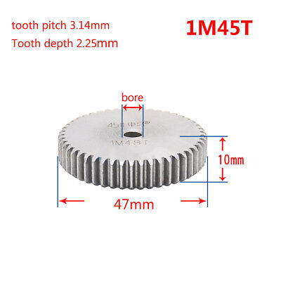 1 Mod 45T Spur Gear Steel Motor Pinion Gear Thickness 10mm Outer Dia 47mm x 1Pcs