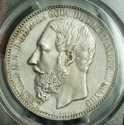 1894, Congo (Free State), Leopold II. Scarce Silver 5 Francs Coin. PCGS MS-63!