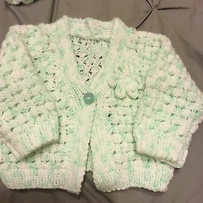 3-6 Months Babies Handmade Knitted Baby Girls Pale Peppermint Cardigan New