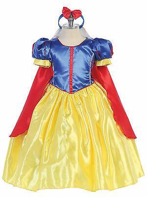 Girl's Snow White Halloween Costume Princess Dress Disney Size 2/4/6/8