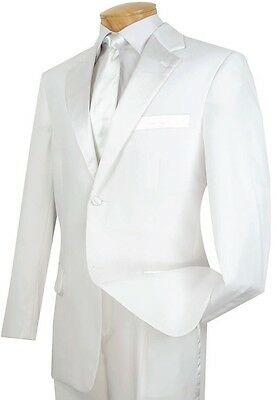 Men's White Classic-Fit Formal Tuxedo Suit w/ Sateen Lapel & Trim NEW Wedding
