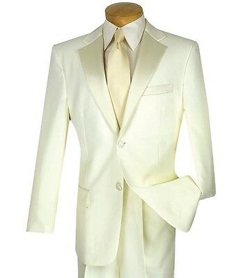 Men's Ivory Classic-Fit Formal Tuxedo Suit w/ Sateen Lapel & Trim NEW Wedding