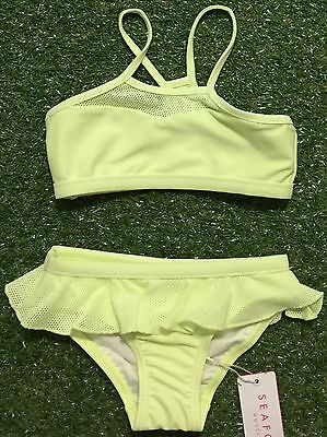 New Seafolly Girls Peek A Boo Tankini Set In Honeydew - Size 2