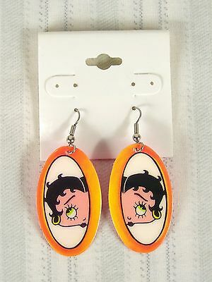 Betty Boop Earrings Hook Dangling Orange Pink