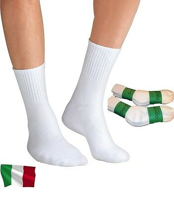 Davido Mens socks crew made in Italy 100% cotton 6 pairs white size 10-13