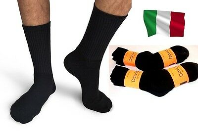 Davido Mens socks crew made in Italy 100% cotton 6 pairs black size 9-11