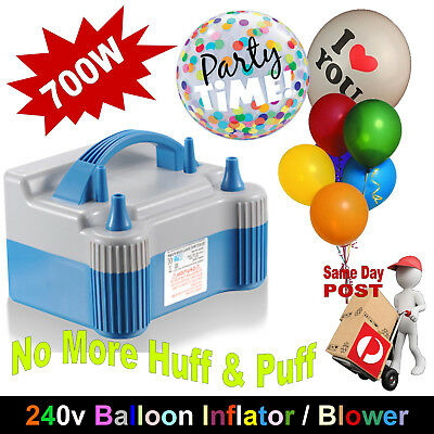 Portable High Power Electric Balloon Pump Twin Nozzles Inflator Air Blower 240V