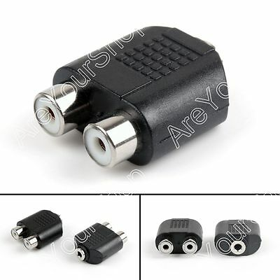 2RCA Female to 3.5mm Female Jack Y Splitter Audio Cable Adapter Connector