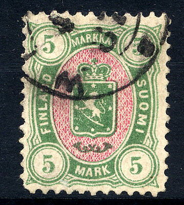FINLAND 1885 5 Mk. yellow-green and rose used