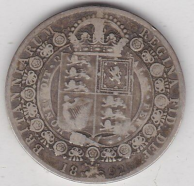 1892 Victorian Silver Half Crown In A Well Used Fair To Fine Condition