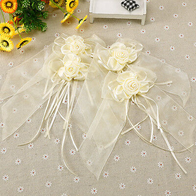 4x Noeud Papillon Organza Rose Satin deco voiture table mariage Blanc / Beige