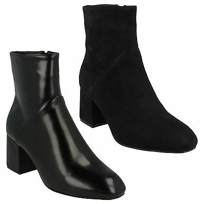 LADIES WOMENS SPOT ON HIGH HEEL PULL ON SMART WINTER CASUAL ANKLE BOOTS F5965