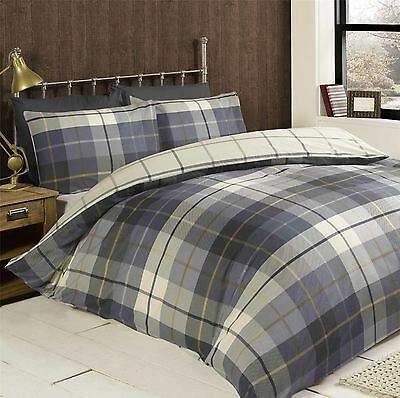 Lomond Check 100% Brushed Cotton - Double - Blue Duvet Cover