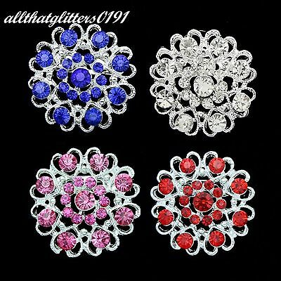 Silver Plated Beautiful Round Crystal Flower Brooch Available In Various Colours