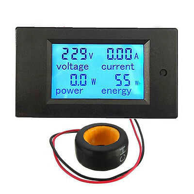 LCD Digital Panel Meter LED Power Alarm Monitor Energy Voltmeter Ammeter 100A AC