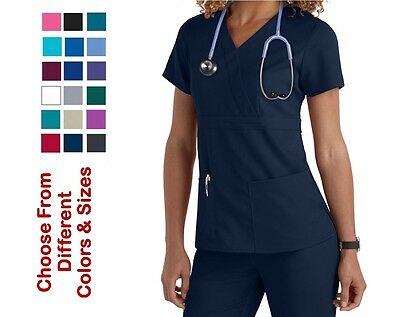 Grey's Anatomy Scrubs 4153 Mock-Wrap Top Choose Color / Size Free Shipping NWT