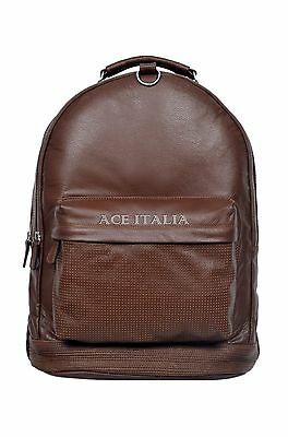 Deluxe New Unisex Backpack Tan 1005 Duffle Travel Gym Real Genuine Leather Bag
