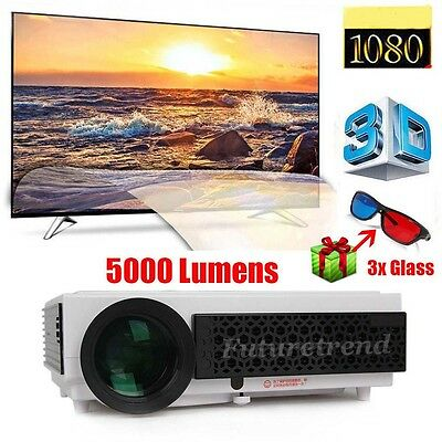2016 5000 Lumens Full HD 1080P LED 3D Home Theater Projector Cinema VGA HDMI TV