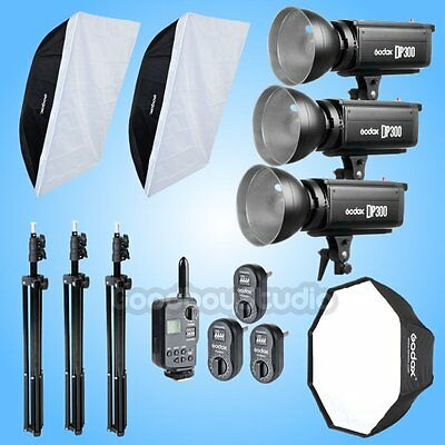 Godox 3X DP300 900W Studio Strobe Flash Light + Softbox + 2M Stand + FT-16 Kit
