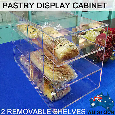 Deluxe Large Cake Display Cabinet Case Bakery Muffin Donut Pastries 5MM Acrylic