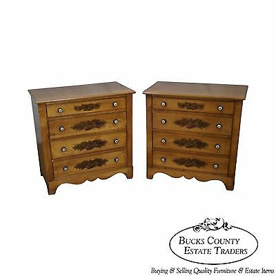 Hitchcock Pair of Solid Maple Stenciled Single Dressers Bachelors Chests
