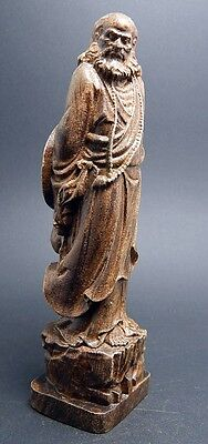 5 inch Shaolin Temple Bodhidharma Sculpture Agarwood wood carved statue