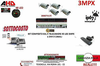 Kit Videosorveglianza Ahd Dvr 8 Canali 4 Telecamere Array 3Mp Ip Cloud Alta Qual